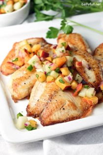 Pan seared tilapia with peach and cucumber salsa