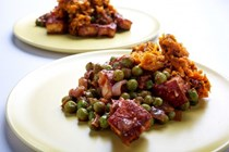 Paneer and pea curry with sweet potato hash
