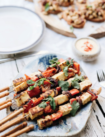 Paneer and sizzled capsicum kebabs with curried mango sauce
