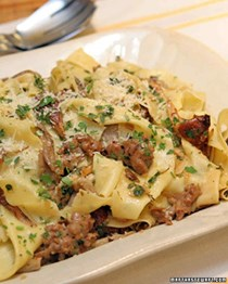 Pappardelle, spicy sausage meat and mixed wild mushrooms
