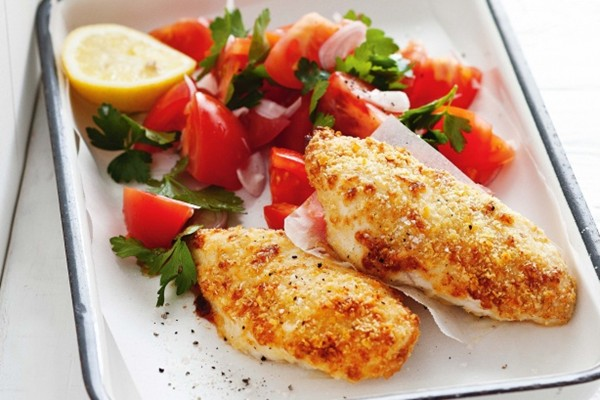 Parmesan-crusted chicken with chunky tomato salsa
