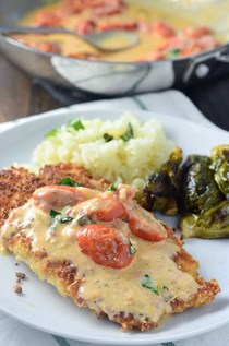 Parmesan crusted tilapia with tomato basil cream sauce