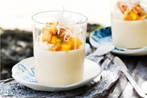 Passionfruit puddings with tropical fruit and crispy vermicelli