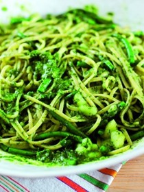 Pasta alla Genovese with green beans and pesto