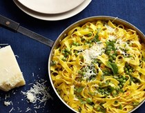 Pasta primavera with peas, pecorino, chile, and mint