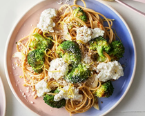 Pasta with homemade ricotta & roasted broccoli
