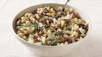 Pasta with sausage, radicchio, and olives