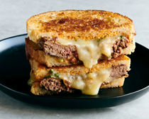 Patty melts with charred scallion-chipotle mayo