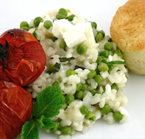 Pea, mint, & feta risotto with roasted cherry tomatoes