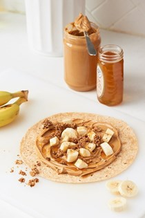Peanut butter, banana, and granola wrap