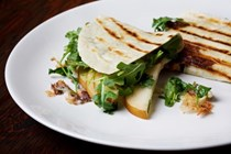 Pear, Brie and arugula quesadillas