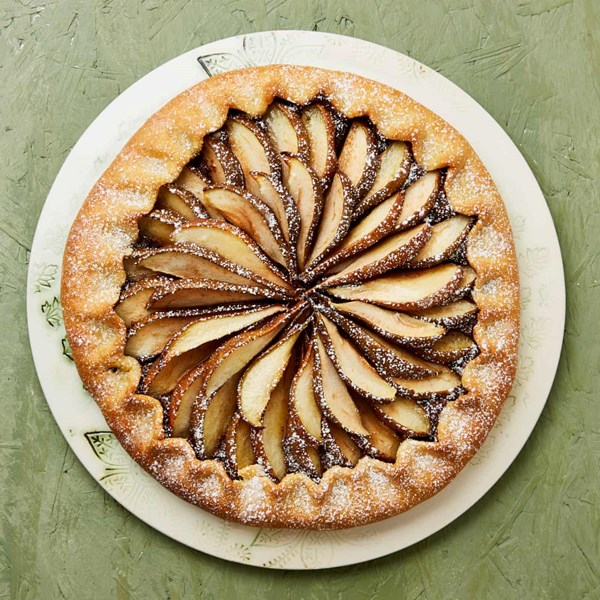 Pear, chocolate and almond galette