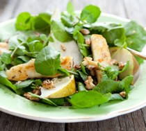 Pear, walnut and haloumi salad