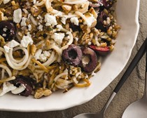 Pears with farro, cherries, walnuts, and goat cheese