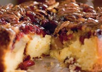 Pecan and pear upside-down cake with cranberries