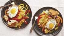 Peperonata with fried eggs