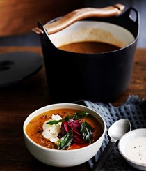 Persian red lentil soup with tahini, beetroot & fried mint