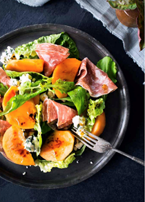 Persimmon & salami salad with balsamic dressing