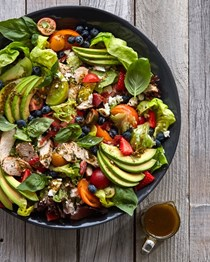 Pesto farmers market salad with grilled chicken