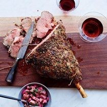 Petite leg of lamb with pickled rhubarb salsa