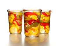 Pickled corn and peppers