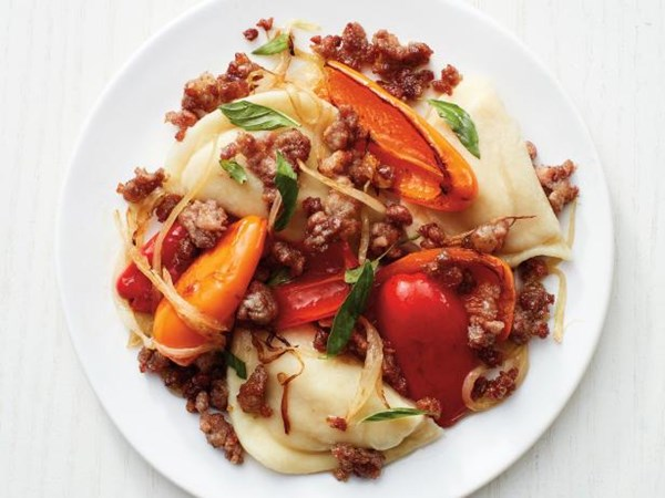 Food network magazine june 2017 eat your books pierogi with sausage and peppers forumfinder Images