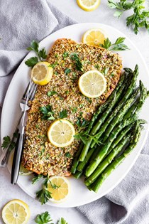 Pistachio crusted baked salmon