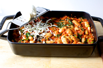 Pizza beans - tomato and gigante bean bake