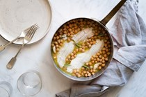 Poached cod with chickpeas and rosemary