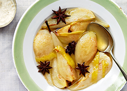 Poached pears with star anise and cashew cream