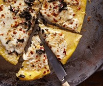 "Polenta ""pizza"" with crumbled sage"