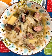 Polish-y cabbage soup with root vegetables and kielbasa