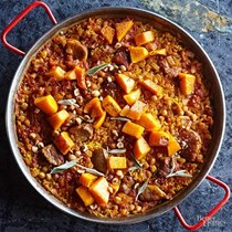 Pork and butternut paella