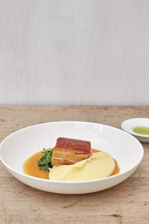 Pork belly and apple sauce