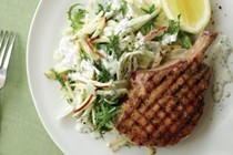 Pork cutlets with apple & fennel slaw