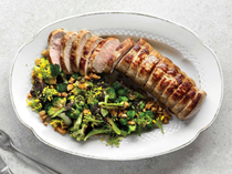 Pork fillet with seared broccoli and cracklings