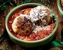 Pork, veal and ricotta meatballs with roasted garlic marinara