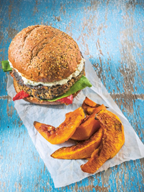 Portobello pecan burgers with roasted pumpkin wedges