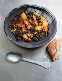 Portuguese kale stew with oysters