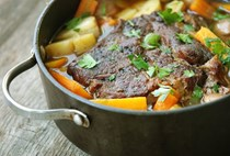 Pot roast with sherry, onions, thyme, & sour cream