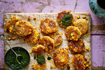 Potato, corn & scallion tikki with cilantro-mint chutney