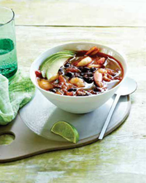 Prawn and black bean soup with lime