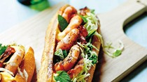 Prawn baguette with minted cabbage & sumac