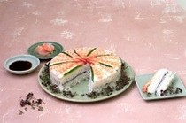 Prawn sushi cake (with rice vinegar marinade)