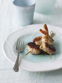 Prawns and scallops on skewers