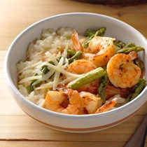 Pressure cooker risotto with shrimp & asparagus