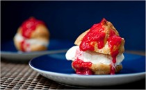 Profiteroles with raspberries
