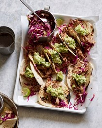 Pulled pork tacos with avocado crema