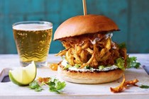 Pumpkin bhaji burger with herby yoghurt sauce