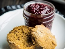 Pumpkin biscuits with blackberry-chia jam